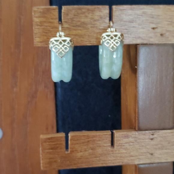 Jewelry - Green jade hoops